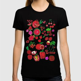 Red Fruits Drawing T-shirt