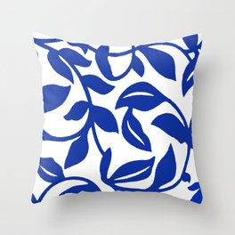 PALM LEAF VINE SWIRL BLUE AND WHITE PATTERN Throw Pillow