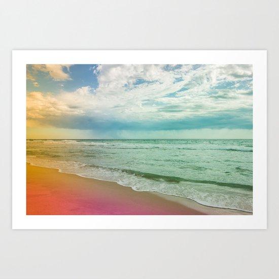 Beach in Colours Art Print