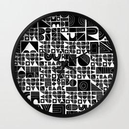 Square peg, round hole Wall Clock
