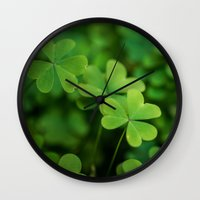 clover Wall Clocks featuring Clover by Michelle McConnell