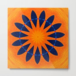 Blue flower petals with orange background Metal Print