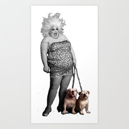 Divine and her dogs Art Print