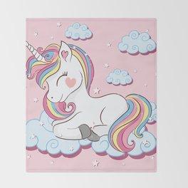 Cute unicorn illustration. Throw Blanket