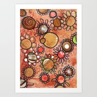brown Art Prints featuring brown by Kras Arts - Fly Me To The Moon