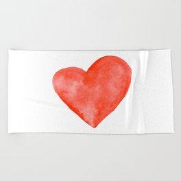 Red Watercolor Heart Beach Towel