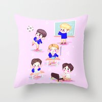 shinee Throw Pillows featuring school shinee by sophillustration
