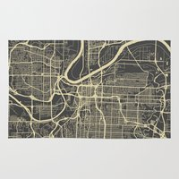 kansas city Area & Throw Rugs featuring Kansas City map by Map Map Maps