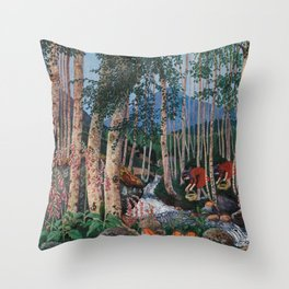 Floxgloves and White Birch amid the Stream landscape by Nikolai Astrup Throw Pillow