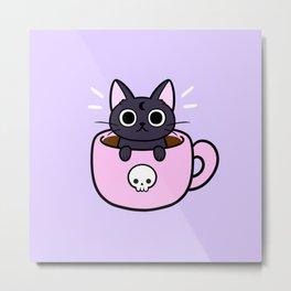 Pastel Coffee Cat Metal Print
