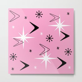 Vintage 1950s Boomerangs and Stars Pink Metal Print