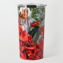 Turkish Woman Preparing Red Peppers Travel Mug