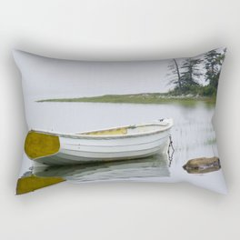 A Fine Art Photograph of a White Maine Boat on a Foggy Morning Rectangular Pillow