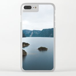 Overlooking cliffs on the edge of a lake Clear iPhone Case