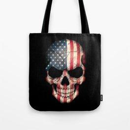 American Flag Skull on Black Tote Bag