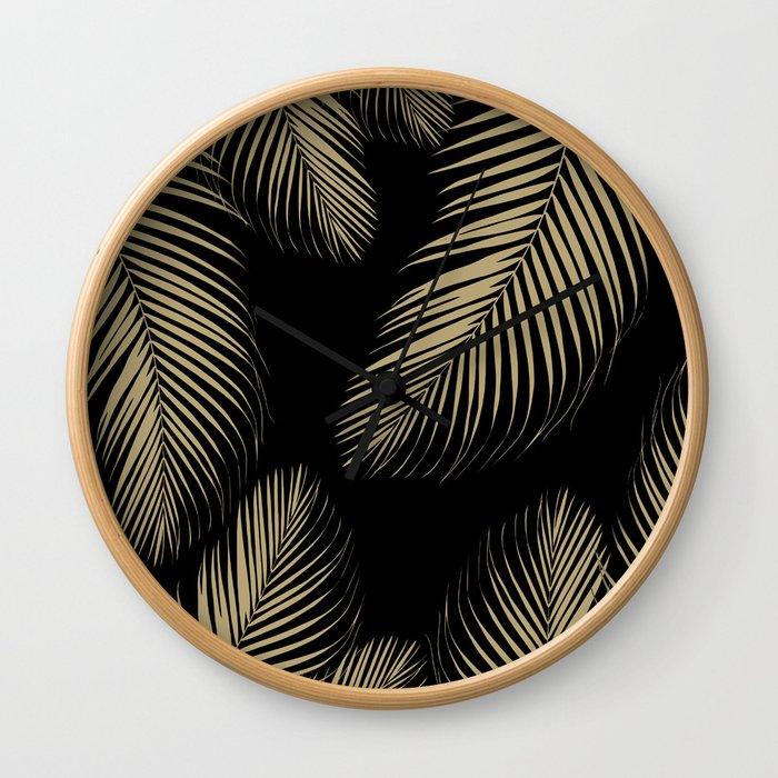 Palm Leaves - Gold Cali Vibes #4 #tropical #decor #art #society6 Wall Clock