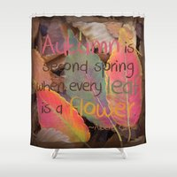 camus Shower Curtains featuring Hello Sweet Autumn by Graphic Tabby