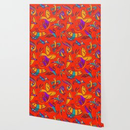 Pattern with Firebirds (on red background) Wallpaper