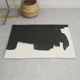 Mid Century Modern Minimalist Abstract Art Brush Strokes Black & White Ink Art Colorfield Rug