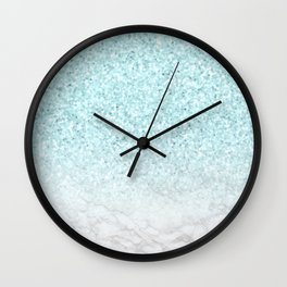 Turquoise Glitter and Marble Wall Clock