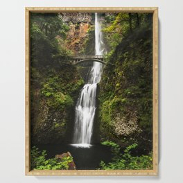 Multnomah Falls, located in the Columbia River Gorge - Color Photo Serving Tray