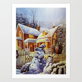 Father & Son Snowman Art Print
