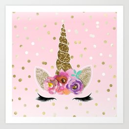 Floral Trendy Modern Unicorn Horn Gold Confetti Art Print
