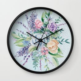 Romantic Watercolor Flowers Bouquet Wall Clock