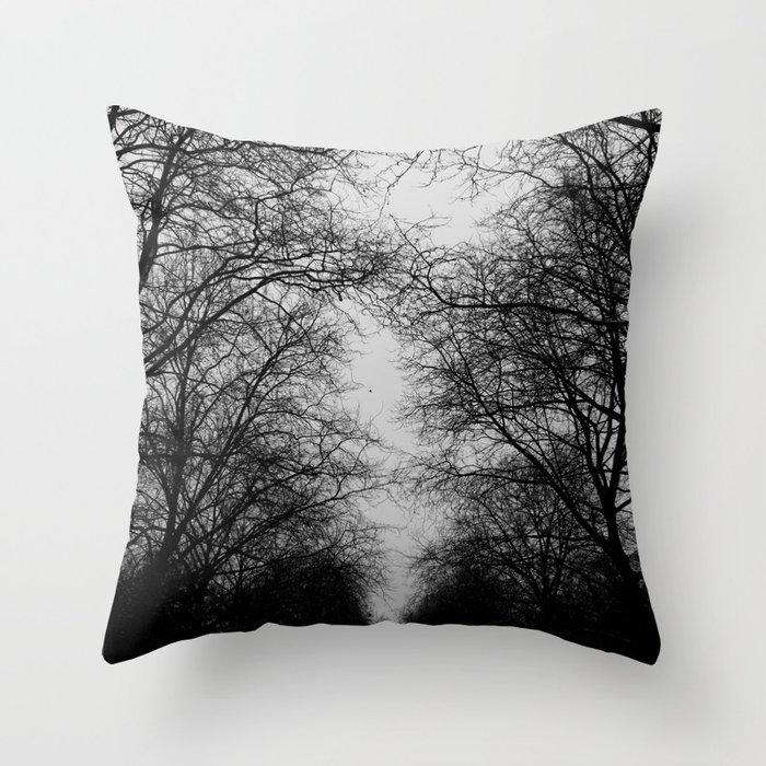 black and white trees Deko-Kissen
