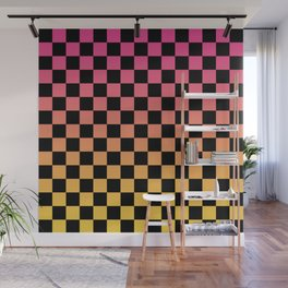 Pink Yellow Checkerboard Gradient Wall Mural
