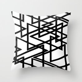 Interlocking Black Triangles Artistic Design Throw Pillow