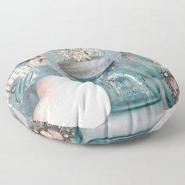 Vintage Mason Jars Shabby Chic Cottage Jeweled Decor Floor Pillow