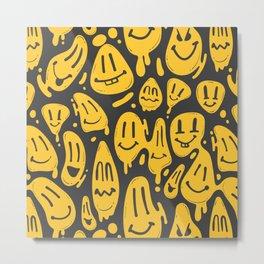 distorted smile emoticon pattern Metal Print