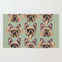 evil Area & Throw Rugs featuring No Evil  Frenchie by Huebucket
