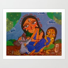 Parvati, with her children Ganesh and Lakshmi Art Print