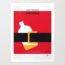 No702 My Bad Santa minimal movie poster Art Print