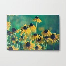 Emerald and Topaz Summer Botanical -- Prairie Coneflower / Mexican Hat Flower Metal Print