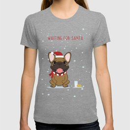 French Bulldog Waiting for Santa - Fawn edition T-shirt