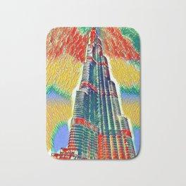 Colorful Burj Khalifa painting Bath Mat