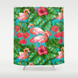 Flamingo birds and tropical garden          watercolor Shower Curtain