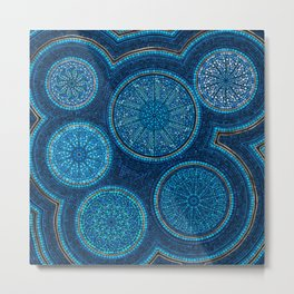 Dot Art Circles Abstract Blue with gold accent Metal Print