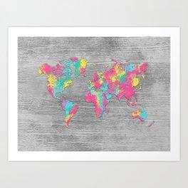 world map 80 colors Art Print
