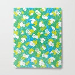 Tropical green pinapples Metal Print