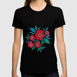 Red Flowers watercolor T-shirt