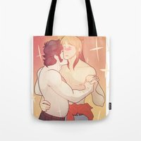 yaoi Tote Bags featuring 90s DANCE by kami dog