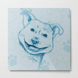 Happy PitBull Metal Print