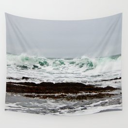 Green Wave Breaking Wall Tapestry