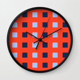Geometric abstraction: dark and light cobalt blue squares on scarlet red Wall Clock