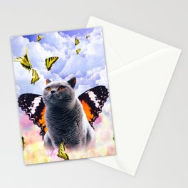 Cute Colorful Cat Butterfly Stationery Cards