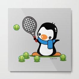 Tennis Penguin Metal Print
